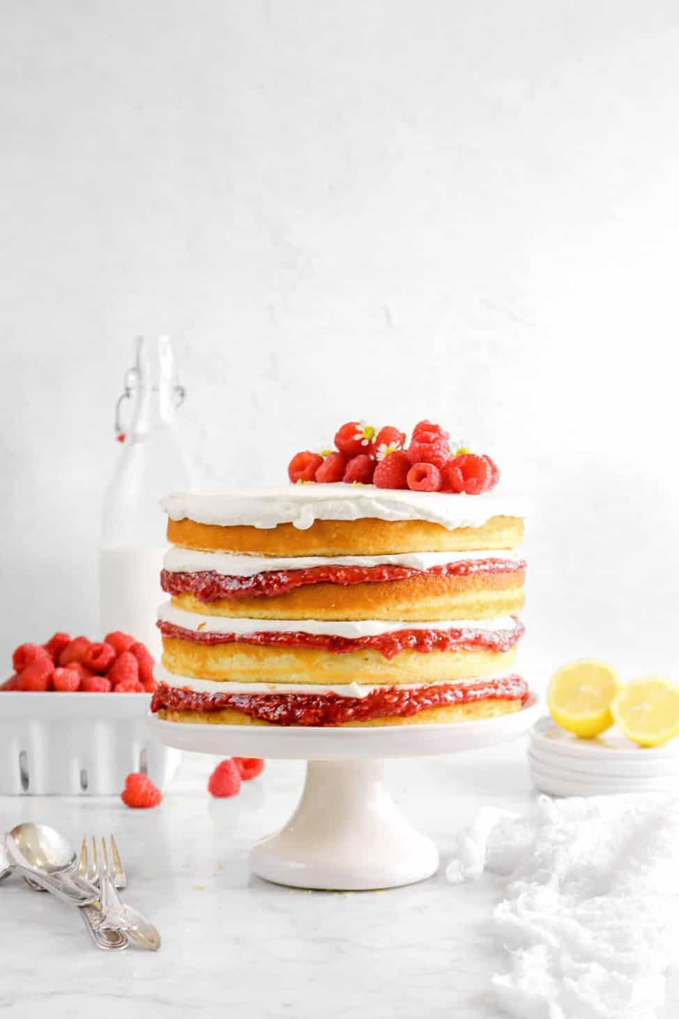 Lemon And Raspberry Jam Naked Layer Cake With Chantilly Cream Bakers Table